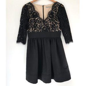 EUC eliza j missy black lace faille dress size 6
